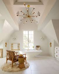 sputnik design bathroom chandeliers on high ceiling using wood furniture and round wool rug