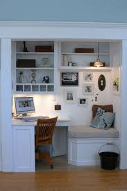 office space at home. Decorations : Wonderful Small Home Office Space Decor Inspiration With Textured Wood Floor And L Shape Computer Desk Also Seatting Added Wall At