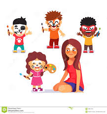 face painting party kids drawing characters stock image