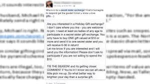 Secret sister gift exchange: Beware | abc13.com