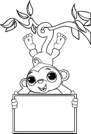 Baby Monkey Coloring Pages Coloringpw