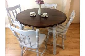 vintage rustic carved oak very solid dining set of round dining table 4 matching chairs hand painted in light grey fusion mineral paint upcycled