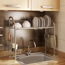 over the sink shelf organizers for kitchen and bathroom counters stainless steel dish drying rack adjule kitchen organizer