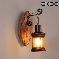 Rustic Lantern Light Us 50 0 Ekoo E27 Leaf Shape Retro Industrial Rustic Style Lantern Wall Fixture Lamp Sconce Light In Wall Lamps From Lights Lighting On Aliexpress