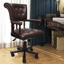 leather swivel office chair. brown real leather chesterfield captains swivel office chair