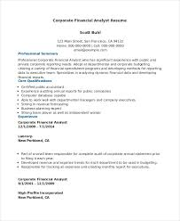 Financial Analyst Resume Template Sample Healthcare Business