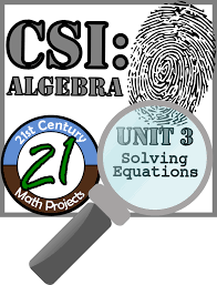 a fun middle and high school math project teaching equation solving built around a criminal investigation where traditional and non traditional math