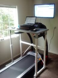 rustic varnished gany stand up computer desk combined simple treadmill