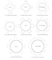 round table sizes banquet 8 person size what seats dim 10 circular al dining dimensions room