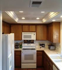 lighting for small kitchen. Small Kitchen Illuminated With Recessed Tray Ceiling Lighting : Subtle Ideas For D