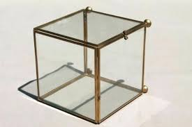 vintage glass brass box showcase cube shaped display case curio office and cabinet