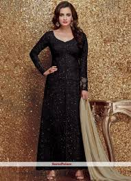 Designer Suit For Marriage Party Diya Mirza Black Designer Suit Fashion Bollywood Dress