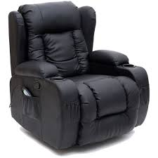 Caesar Black Winged Leather Recliner Chair Rocking Massage Swivel - Swivel recliner chairs for living room 2