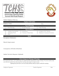 Form To Write Up An Employee Student Employee Write Up Form