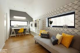 family home office. Bright Yellow Accents Increasingly Beautify This Home Office Family