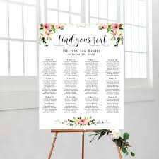 Etsy Wedding Seating Chart Wedding Seating Chart Printable Editable Wedding Floral Template Wedding Poster Find Your Seat Sign Instant Download