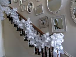 white christmas holiday decor eclectic-staircase