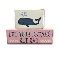 nautical baby nursery whale sail boat wood sign blocks block signs personalized little sailor