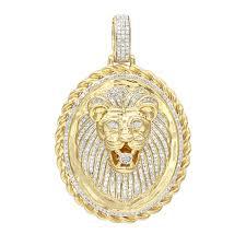 luxurman medallion 14k gold real diamond lions head pendant 1ct yellow image