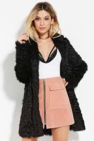 black fur coats forever 21 longline gy faux fur coat