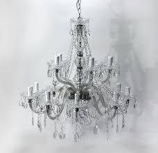 Kronleuchter Versailles Weiß Klar 15 Flammig 68cm Durchmesser Deckenlampe