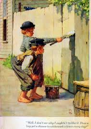 norman rockwell illustrates mark twain s tom sawyer huckleberry  sawyer 3