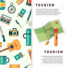 Tourism Banner Design Tourism Banner Design With Flat Map Light And Accessories Vector