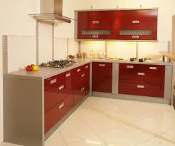 Kitchen With Red Appliances Modern Kitchen Decor With White Cabinetry Also Island And Panel