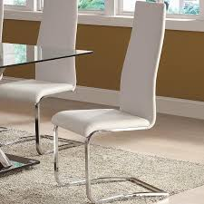Amazon Com White Faux Leather Dining Chairs With Chrome Legs