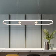 fully illuminious art deco oval ring led chandelier 47 62w small large white finish