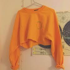 Shadow Hill Cropped Sweatshirt In Tangerine Size Depop