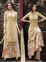 Pakistani Designer Palazzo Pants Beige Georgette Kameez With Palazzo Pant 80784 Kurta