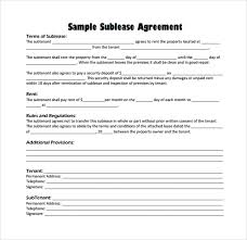 Sublease Agreement Samples Sublease Agreement 22 Download Free Documents In Pdf Word