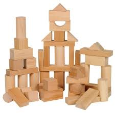 wooden building block kids toy set wood children play room educational toddler 689995548461