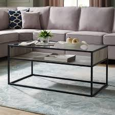 40 metal and glass coffee table with open shelf grey wash