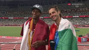 Qatar's mutaz essa barshim and italy's gianmarco tamberi were shaping up to have a jump off to determine who would win the gold medal in the high jump. Lqzqnyoiuklucm