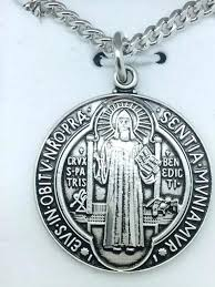 sterling silver st benedict medal 1 on chain bracelet