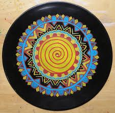Acrylic painting on vinyl record, in progress