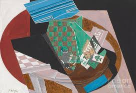Checkerboard and Playing Cards, 1915 Painting by Juan Gris