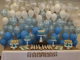 Baby boy shower sweet table back wall with balloons. #babyshower #babyboy  #sweettabledecorationidea