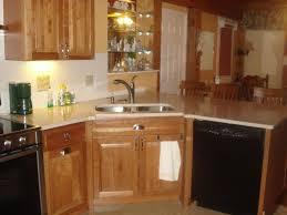 Corner Kitchen Sink Cabinets Cool Corner Kitchen Sink With Brown Cabinet And Ceramic Floor