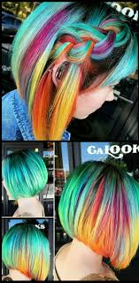 Turquoise Green Rainbow Dyed Hair Color
