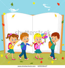 children are going to on the autumn and book background ilration vector