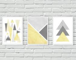 yellow and grey geometric mustard wall print wall art triangles mountains marble wall decor art posters set of three abstract a4 on black grey and yellow wall art with yellow gray wall art etsy