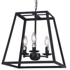 raekor 14 modern black iron frame square cage chain hanging chandelier light