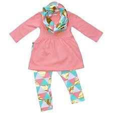Unique <b>Baby Girls</b> 3 Piece Geometric <b>Triangle</b> Print Winter <b>Outfit</b>