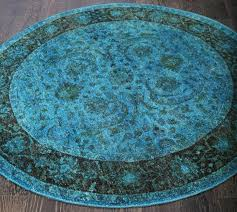 rugsville traditional vintage inspired fl turquoise round overdyed rug 180x180 cm