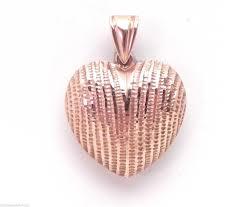 details about stylish las 14k rose gold diamond cut puffed heart pendant
