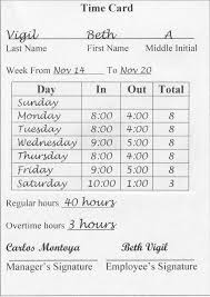 timecard hours reading a time card