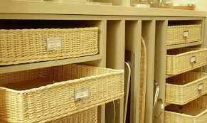 Furniture:Neat Decoration For Wicker Basket Storage In White Shelves Design  Idea Neat Decoration For